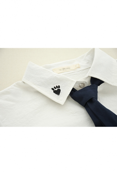 Lapel Collar Long Sleeve Cartoon Cat Embroidered Bow Tie Buttons Down White Shirt