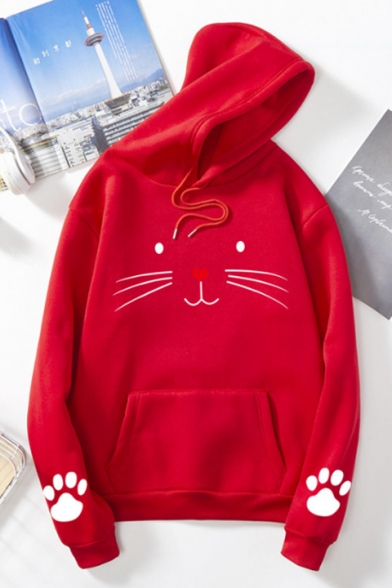 Lovely Cartoon Cat Pattern Long Sleeve Pullover Hoodie