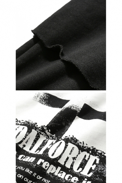 Men's New Stylish Street Style Letter TID ALFORCE Print Round Neck Long Sleeve Fake Two-Piece Black Pullover Sweatshirt