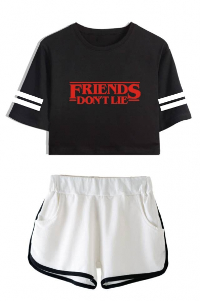 Friends Don't Lie Printed Stripe Short Sleeve with Dolphin Shorts Two-Piece Set, LC559014, Color 1;color 2;color 3;color 4;color 5;color 6;color 7;color 8