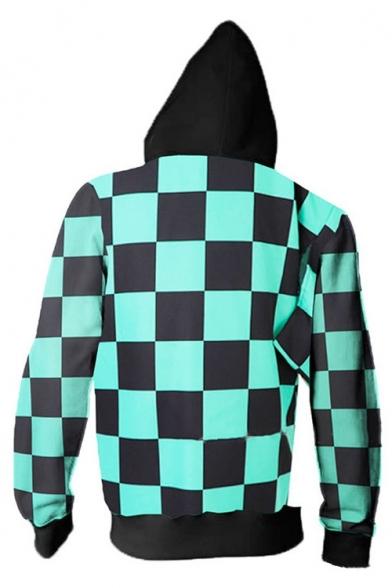 Comic Cosplay 3D Plaid Print Color Block Long Sleeve Green Zip Up Hoodie