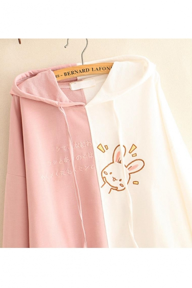 Cute Rabbit Letter Embroidered Color Block Long Sleeve Hoodie For Girls