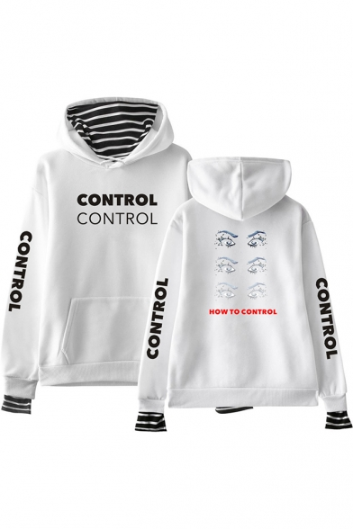 HOW TO CONTROL Letter Eyes Printed Long Sleeve Striped Fake Two Piece Hoodie, Black;pink;white;gray;navy, LC562218