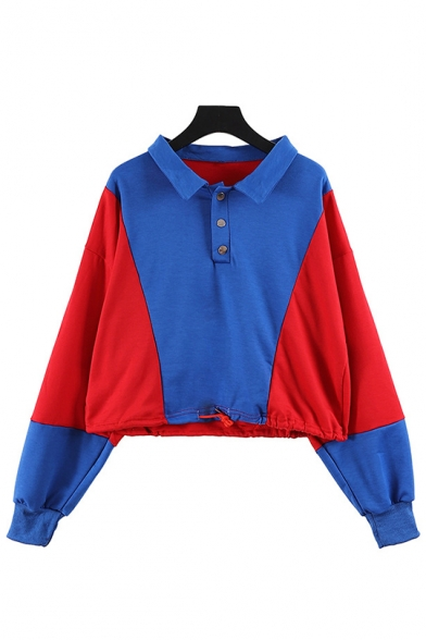 Lapel Collar Color Block Long Sleeve Blue Crop Polo Sweatshirt