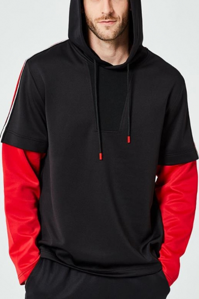 Mens Hot Fashion Colorblock Long Sleeve Fake Two-Piece Casual Loose Hoodie