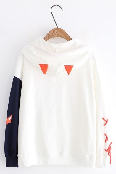 New Arrival Cartoon Fox Pattern Color Block Long Sleeve Leisure Casual Hoodie With Fox Design Hooded