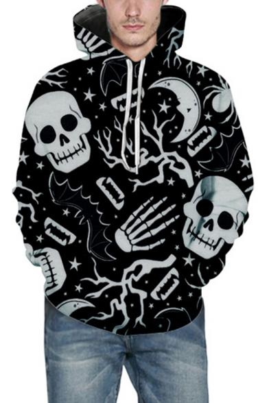 New Fashion Halloween Allover Skull Print Unisex Pullover Hoodie