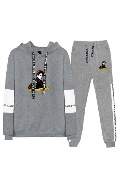 Popular Figure Printed Colorblock Hoodie with Casual Loose Sweatpants Sport Two-Piece Set