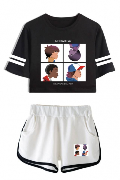 Popular Stranger Things Cartoon Figure Printed Short Sleeve Crop Tee with Dolphin Shorts Sport Two-Piece Set, LC559021, Color 1;color 2;color 3;color 4;color 5;color 6;color 7;color 8