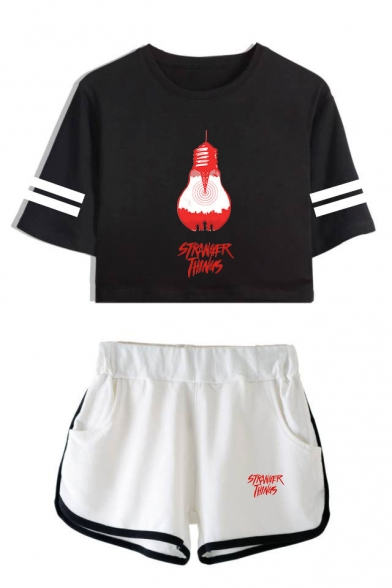 Stranger Things Striped Short Sleeve Crop Tee with Dolphin Shorts Two-Piece Set, LC559007, Color 1;color 2;color 3;color 4;color 5;color 6;color 7;color 8
