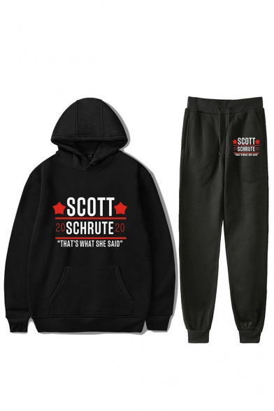 Trendy Heart Letter Scott Schrute Printed Hoodie with Sweatpants Two-Piece Sets, Black;dark navy;red;white;gray, LC560360