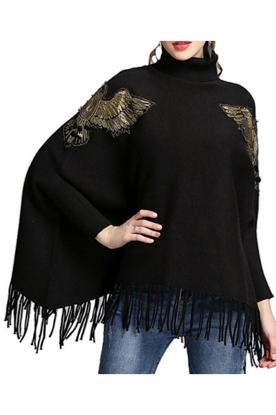 Womens Cool Bats Print Tassel Hem Roll Neck Long Sleeve Cape Sweater
