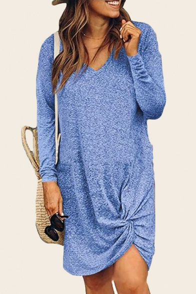Womens Hot Fashion V-Neck Long Sleeve Twist Detail Plain Loose Asymmetrical Shift Midi Dress