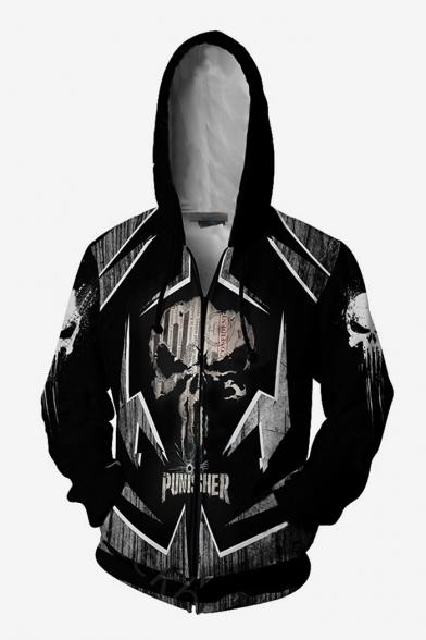 Cool Black Skull Printed Long Sleeve Zip Up Hoodie