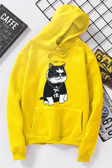 Cool Cartoon Cat Printed Long Sleeve Sport Leisure Unisex Hoodie