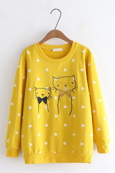 Cute Cartoon Cat Embroidered Polka Dot Pattern Round Neck Long Sleeve Sweatshirt
