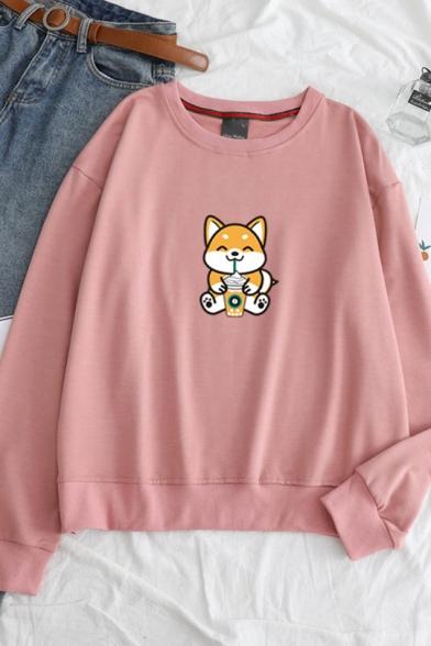Cute Cartoon Dog Pattern Round Neck Long Sleeve Leisure Pullover Sweatshirt, Black;blue;pink;red;white;gray;yellow, LC563823