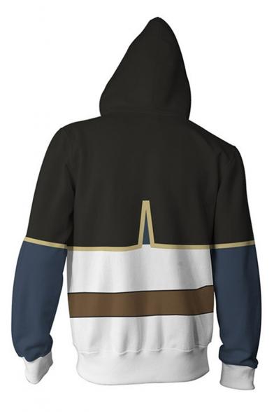 Fashion 3D Color Block Long Sleeve Zip Up Unisex Hoodie