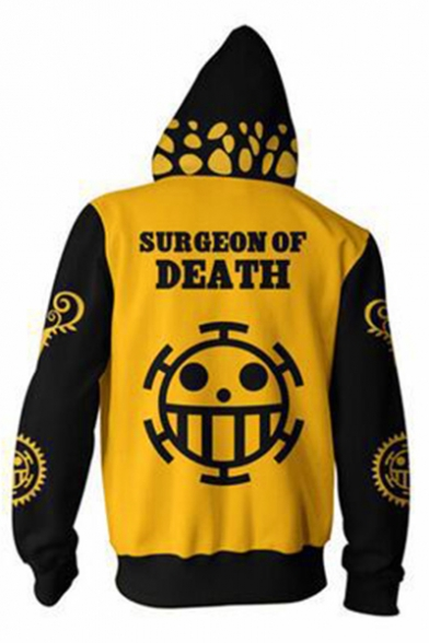 One Piece New Fashion 3D Printed Comic Cosplay Costume Long Sleeve Zip Up Yellow Hoodie