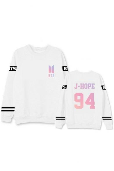 Fashion Kpop Boy Band Number Printed Round Neck Long Sleeve Unisex Sweatshirt