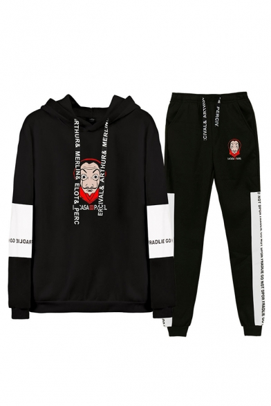Fashion Money Heist Figure Printed Letter Drawstring Hoodie with Joggers Pants Two-Piece Set, LM560029, Black;dark navy;white;gray
