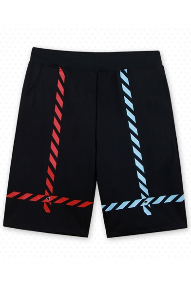 Guys Cool Unique Color Block Flap Pocket Front Black Sport Active Shorts