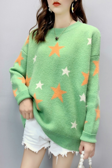 Ladies Cute Star Print Round Neck Drop Sleeve Laid Back Sweater, LM557111, Blue;green;beige;yellow