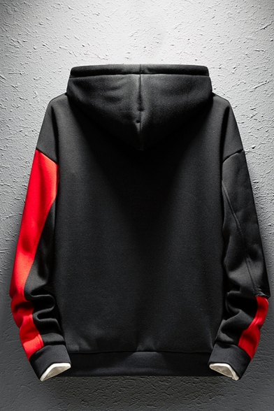Men's New Trendy Letter Print Colorblock Long Sleeve Casual Loose Pullover Drawstring Hoodie