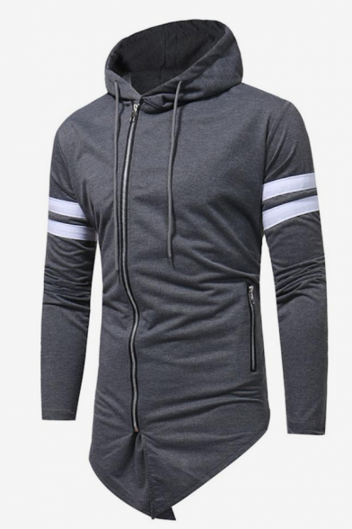 Mens Simple Fashion Stripe Patched Long Sleeve Casual Sports Zip Up Longline Hoodie