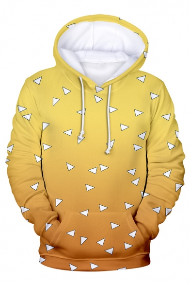New Stylish 3D Comic Geometry Printed Long Sleeve Casual Hoodie With Pockets