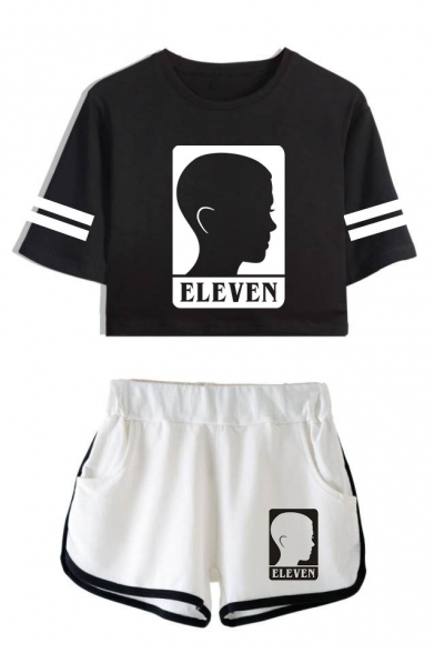 Stranger Things Eleven Figure Printed Short Sleeve Crop Tee with Dolphin Shorts Two-Piece Co-ords, LC559025, Color 1;color 2;color 3;color 4;color 5;color 6;color 7;color 8