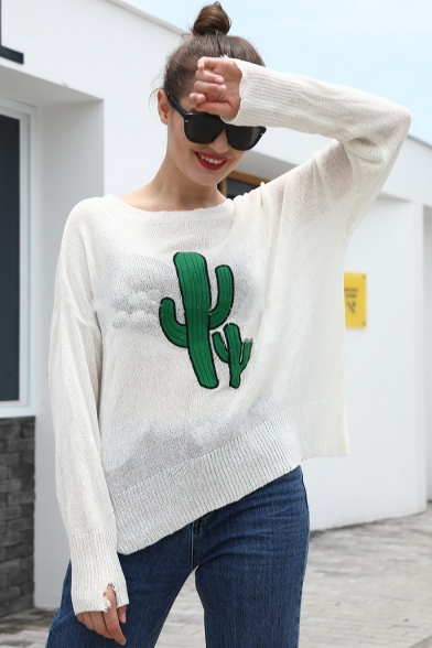 Womens Simple Cactus Print Boat Neck Batwing Sleeve Knitwear Sweater, Black;white;gray;purple, LM557099