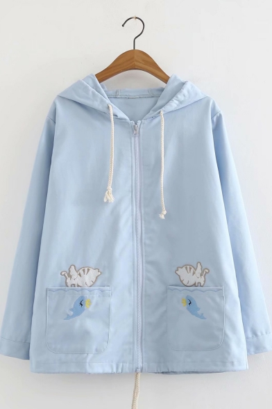 Cartoon Cat And Fish Embroidered Long Sleeve Zip UP Coat For Girls