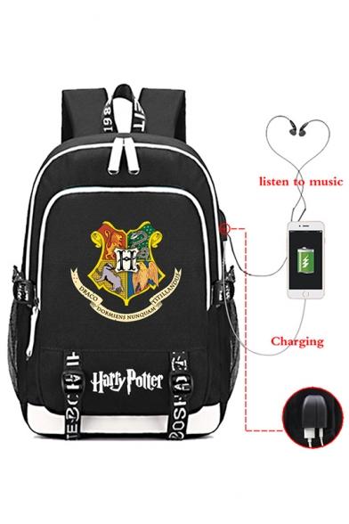Fashion Harry Potter Hogwarts Logo Print USB Charge School Bag Backpack 30*15*44cm