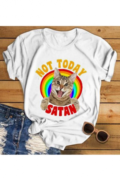 Funny Cartoon Rainbow Cat Not Today Letter Print Short Sleeve White Tee
