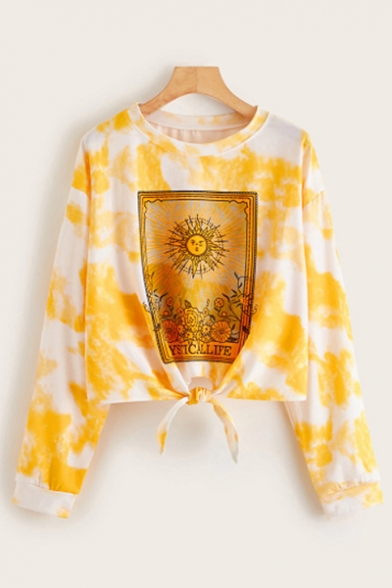 New Stylish Yellow Sun Letter Printed Round Neck Long Sleeve Crop Tie-Dyed Pullover Sweatshirt, LC563641