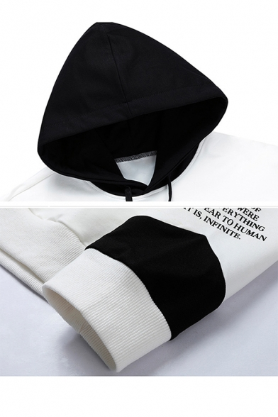 Popular Fashion Letter Printed Colorblocked Drawstring Hooded Long Sleeve Casual Sports Hoodie