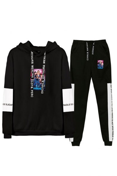 Trendy Figure Printed Color Block Hoodie with Sweatpants Two-Piece Set, Black;dark navy;gray;white-black, LM560015