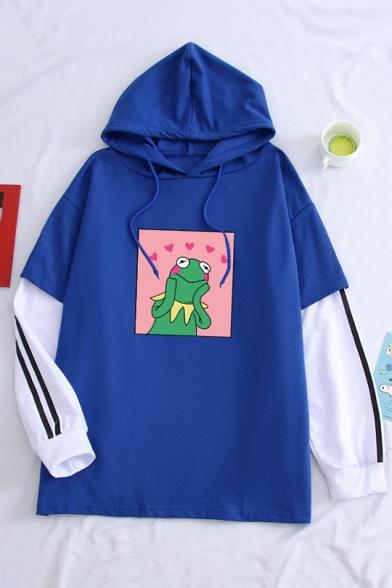 Cute Cartoon Dinosaur Pattern Color Block Patchwork Striped Long Sleeves Hoodie