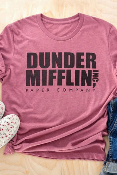 DUNDER MIFFLIN Letter Printed Round Neck Short Sleeve Purple T-Shirt