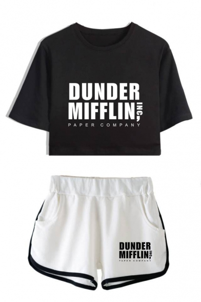 Dunder Mifflin Popular Letter Print Short Sleeve Crop Tee with Dolphin Shorts Two-Piece Co-ords, Color 1;color 2;color 3;color 4;color 5;color 6;color 7;color 8, LC560389