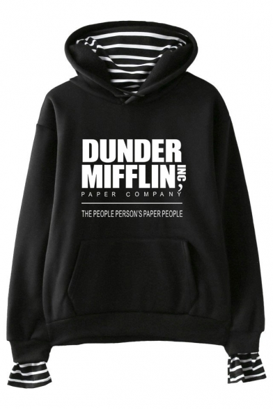 Fashion Letter Dunder Mifflin Print Long Sleeve Casual Loose Hoodie, LC560352, Black;dark navy;pink;white;gray
