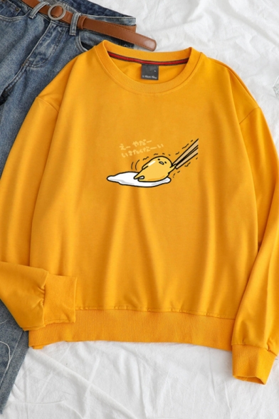 Funny Lazy Egg Gudetama Letter Printed Long Sleeve Round Neck Pullover Sweatshirt