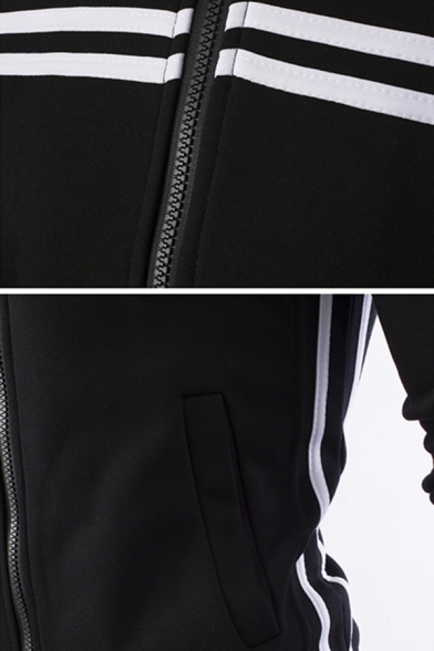 Guys Popular Fashion Contrast Stripe Pattern Long Sleeve Stand Collar Sports Zip Up Hoodie