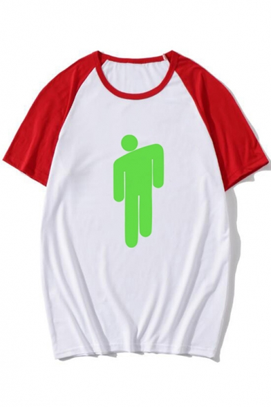 Popular Singer Puppet Printed Color Block Casual Loose Unisex Tee