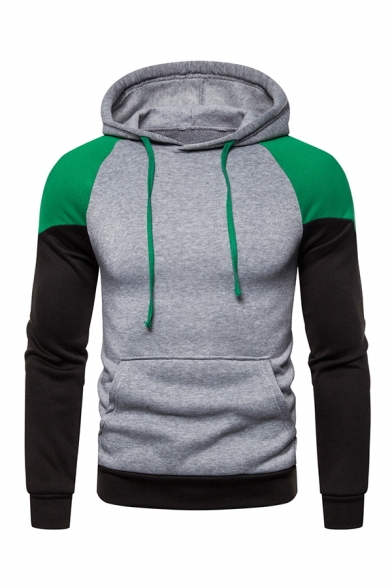 Casual Colorblocked Long Sleeve Pouch Pocket Colorful Drawstring Hoodie