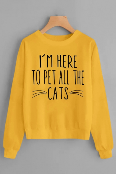 Creative Cat Letter Print Round Neck Long Sleeve Plain Pullover Sweatshirt