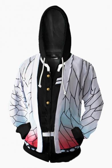 Popular Anime 3D Cosplay Costume Color Block Zipper Long Sleeve Hooded Hoodie