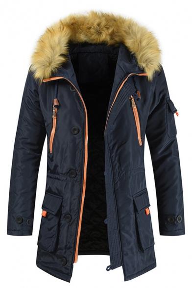 Winter Warm Fur-Trimmed Hood Zipper Embellished Flap Pocket Longline Down Coat