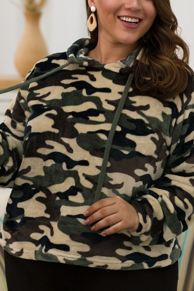Camouflage Pattern Long Sleeves Oversized Faux Fur Teddy Hoodie